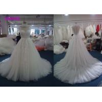 Buy cheap White A Line Cap Sleeve Wedding Dress / Puffy A Line Tea Length Wedding Dresses from wholesalers