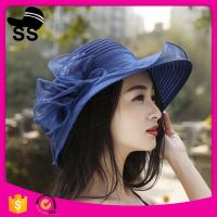Buy cheap 2017 natural grass d37cm promotional women beautiful for girls with flower summer straw hats from wholesalers