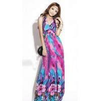 Buy cheap Floral Printed Hanging Neck Ankle-length Shift Dress from wholesalers
