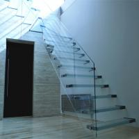 Buy cheap Contemporary Glass Floating Staircase Design Custom Cantilevered Glass Stair Build Hanging Stairs from wholesalers