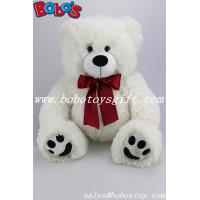 Buy cheap White Stuffed Bear Animal Plush Teddy Bear Toy With Wine Red Ribbon As Nice Gift from wholesalers