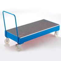 Buy cheap 200L Oil Drum Steel Containment Pallets Galvanized / Spraying Finish With Wheels from wholesalers