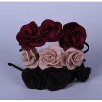 Buy cheap 3 Fabric Rose Flower Hair Band Pink , Rose , Blue With Plastic Bow For Ladies from wholesalers