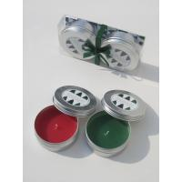Buy cheap 2PK Red & Green scented & assorted tin candle with printed label and packed into clear  box from wholesalers