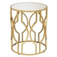Buy cheap Eyelet Metal Side Table Metal Frame, Glass Top Gold Leaf Luxury Accent Furniture Stylish Living Room from wholesalers