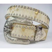 Buy cheap cow hide lady rhinestone belts with 3-sets metal buckle from wholesalers