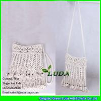 Buy cheap LDMX-005 wooden beaded shoulder bags cotton rope fasten straw handbags from wholesalers