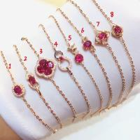 Buy cheap Red Gemstone Gold Jewelry Real Ruby And Gold Charm Bracelet For Women from wholesalers