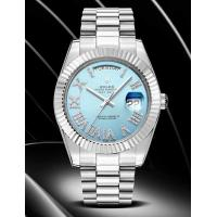 Buy cheap Rolex DayDate 40mm 3255 Movement Sky Blue Dial Diamonds Roman Markers Fluted Bezel Watches from wholesalers