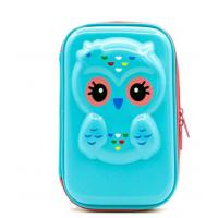 Buy cheap 8.5 x 5.7 x 1.8 inches Cute Owl Face Hardtop EVA Pencil Case Big Pencil Box With Compartment For Kids -blue product