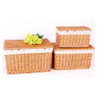 Buy cheap Rectangular willow storage baskets with lids from wholesalers
