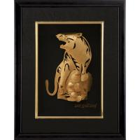 Buy cheap Manual 3D Pure tiger gold foil crafts home decoration , golden Animal frame from wholesalers