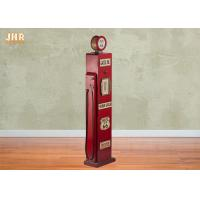 China Antique Gas Pump Design Decorative Wooden Cabinet Red Color Wood Floor Rack Furniture on sale