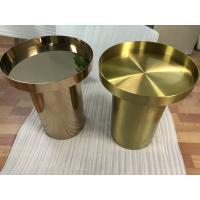 Buy cheap copper plated metal mirror round coffee table gold stainless steel table from wholesalers