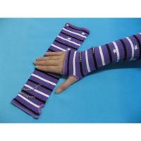Buy cheap Comfortable Cotton / Polyamide / Spandex Purple + White + Black Striped Ladies Arm Warmer Knit from wholesalers