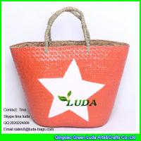 Buy cheap LUDA imitate palm leaf straw bag painted white star  straw beach tote bag from wholesalers