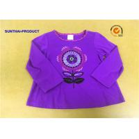 Buy cheap Grape Color Children T Shirt Foil Print Contrast Neck Binding Long Sleeve from wholesalers