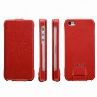 Buy cheap Real Leather Case for iPhone 5, with Embossed Flower, Available in 5 Colors product