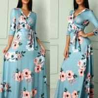 Buy cheap Amazon wish  floral dress women plus size winter 2019 spring V-neck Christmas dresses Africa ladies Mexico party dresses from wholesalers