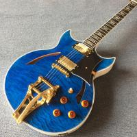 Buy cheap High quality Jazz Electric Guitar with Bigsby, Ebony Fingerboard, Guitar Quilted Maple Trans-Blue burst color from wholesalers