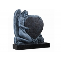 Buy cheap 100% Hand Carved Shanxi Balck Angel Wings Headstone product