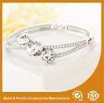 Buy cheap Three Stones Shape Solid Silver Costume Jewellery Bangles Imitation Diamond from wholesalers