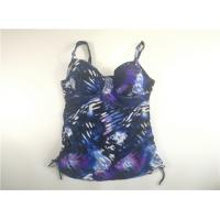 China Blue Painting Tankini Top Plus Size Clothing Swimwear Underwire Adjustable strap on sale