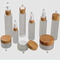 Buy cheap Frosted Bamboo Cosmetic Glass Jars Sets 15g 30g 150g 50ml 100ml 120ml product