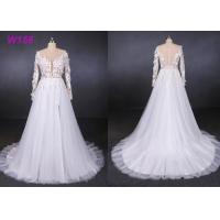 Buy cheap 2019 Long sleeves high fork small tail 3D flowers tulle wedding dress bride gowns from wholesalers