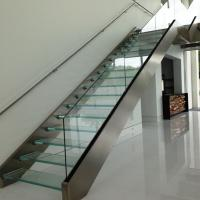 Buy cheap Double stringer staircase design with laminated glass steps product