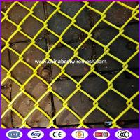 Buy cheap Yellow color 100x100mm opening 5 ft tall chain link fence for sports field from wholesalers