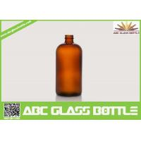 Buy cheap 1OZ Amber Boston Round Flat Glass Cough Syrup Bottle product