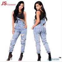 Buy cheap Fashion Distressed Ladies Jeans Pant Slim Suspender Jumpsuit Type from wholesalers