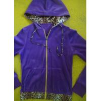 Buy cheap Purple Velour Color Block girls Zip Up Hoodies With Kangaroo Pocket High End from wholesalers