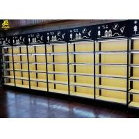 Buy cheap 25MM MDF Layer Wood Steel Frame Shelves With Advertising Board Led Light Black from wholesalers
