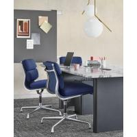 Buy cheap Full Leather Herman Miller Aluminum Group Chair High Grade Dark Blue Color from wholesalers