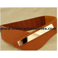 Buy cheap Brown Ladies Elastic Stretch Belts for dresses , 90×7 cm Metal Trim Wide Belts from wholesalers
