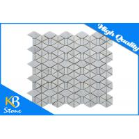 Buy cheap Irregular Honed Bianco Herringbone Marble Mosaic Tiles Carrara White For Home Decoration from wholesalers