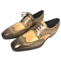 Buy cheap Iron Woven Mens Woven Leather Lace Up Shoes Pointed Toe Flats Mens Brown Wedding Shoes from wholesalers