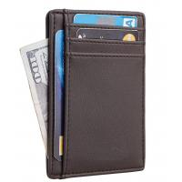 Buy cheap Slim Wallet RFID Front Pocket Wallet Minimalist Secure Thin Credit Card Holder bag factory mass production from wholesalers