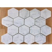 Buy cheap 3 Hexagon Mosaic Tile , White Stone Mosaic Floor Tile For Bath Floor from wholesalers