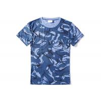 Buy cheap Navy Blue Military Style T Shirts For Summer , Unisex Cool Army T Shirts Moisture Absorbing from wholesalers