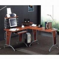 Buy cheap Corner Computer Table with Large Spacious Tabletop and CD Shelf/Printer Panel/Mobile Holder from wholesalers