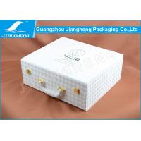 Buy cheap 3D Effect White Faux Leather Gift Wooden Cosmetic Box With Double Deck Insert from wholesalers