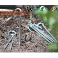 China garden pegs, garden pegs, gardening pegs, ground pins, Flat point garden staples, U shaped turf nails, turf pins,Horticu on sale