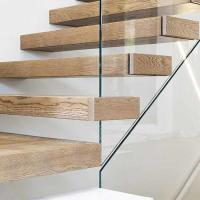 Buy cheap Modern Hidden cantilever stairs floating stairs with wooden tread and frameless glass railings from wholesalers