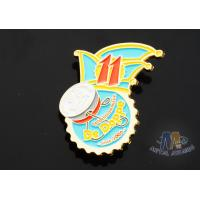 Buy cheap Full Color Enamel Custom And Stock Metal Lapel Pin Badges Gift Items Imitation Gold Plating from wholesalers