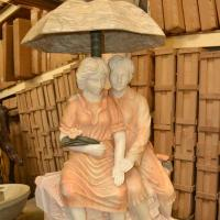 Buy cheap Young Couple Under Umbrella Statue Marble Stone Garden Water Fountain from wholesalers