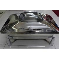 Buy cheap Rectangular Stainless Steel Cookwares with Glass Window Mechanical Hinge Lid / Hydraulic Induction Chafing Dish from wholesalers