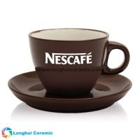 Buy cheap Custom small two tone cappuccino ceramic coffee cup&saucer made in China supplier/manufacturer from wholesalers